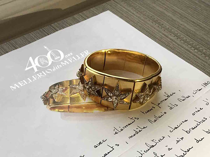Late 19th century gold and diamond Star Bracelet by Mellerio dits Meller on documentation confirming the design is by the historic French house. Photo by Sally Davies