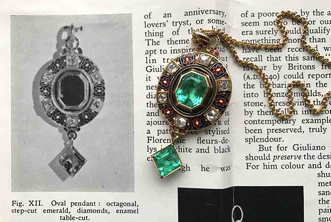 Late 19th century emerald, diamond, enamel and gold pendant necklace by Carlo Giuliano on a 1954 catalogue featuring the jewel from the Neil Lane Archive Collection. Photo by Sally Davies