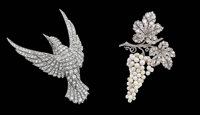 Van Cleef & Arpels Bird Brooch and Grape Brooch Courtesy Patrick Gries © Van Cleef & Arpels