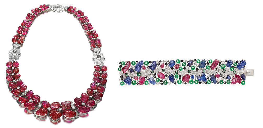 Necklace, 1929; Produced by Van Cleef & Arpels (Paris, France); Platinum, carved rubies, diamonds; L: 41.3 cm (16 1/4 in.); The Adrien Labi Collection; Photo: Siegelson, New York
