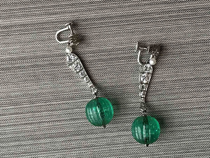 Cartier carved emerald, diamond, natural pearl and platinum art deco earrings from the Neil Lane Archive Collection Photo by Sally Davies
