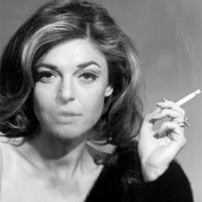 Anne Bancroft wearing a marquise-shape diamond Harry Winston engagement ring in a film still for 'The Graduate'