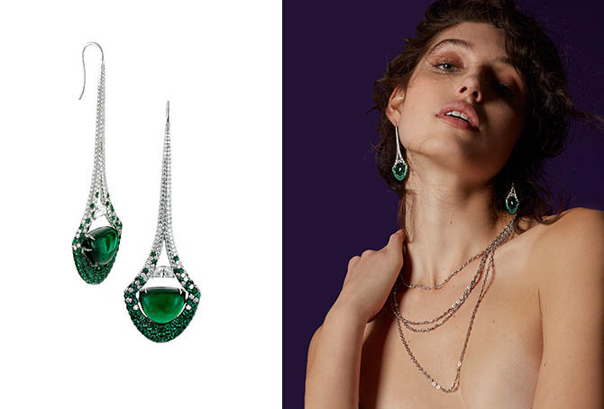 Martin Katz Emerald half-moon cabochon and diamond Eiffel Tower earrings at left and on model with a diamond chain. Photo courtesy of Moda Operandi