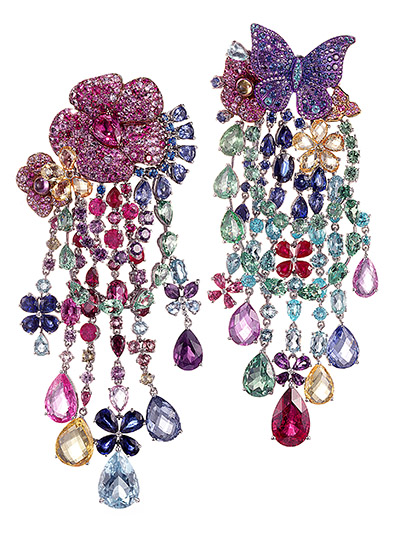 The chandelier earrings from the Rihanna ♥ Chopard collab the singer wore to the 2017 Grammys are set with a variety of colorful gems. Photo courtesy