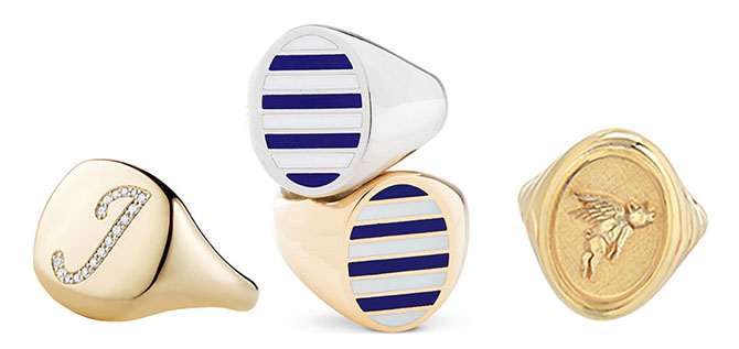 David Yurman Initial Signet Ring, Jessica Biales Classic Stripe Signet Rings, Retrouvaí Flying Pig Signet Ring