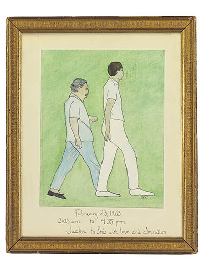 Painting by Jacqueline Kennedy Onassis of Stas Radziwill and Chuck Spalding on the 50-mile hike in Palm Beach.