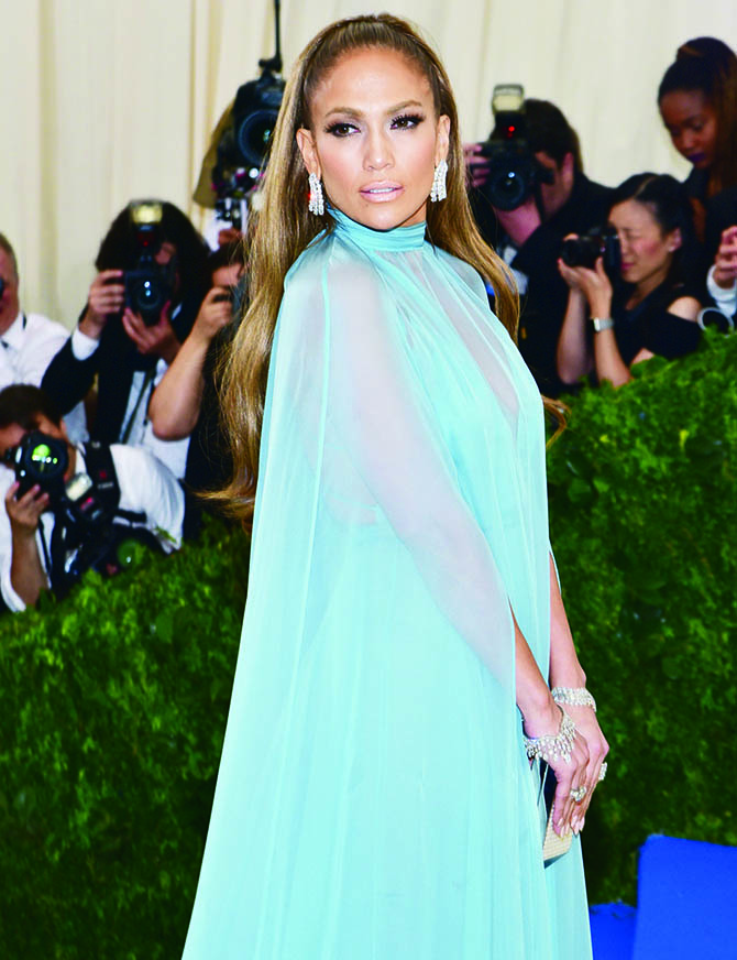 Jennifer Lopez in Valentino and Harry Winston diamonds at the MET Gala