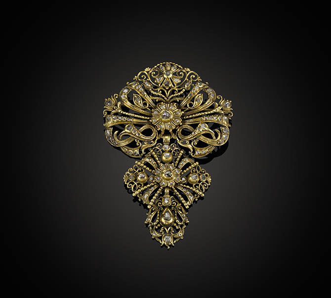 rose diamond and gold matched pendant brooch, Spanish c.1720,