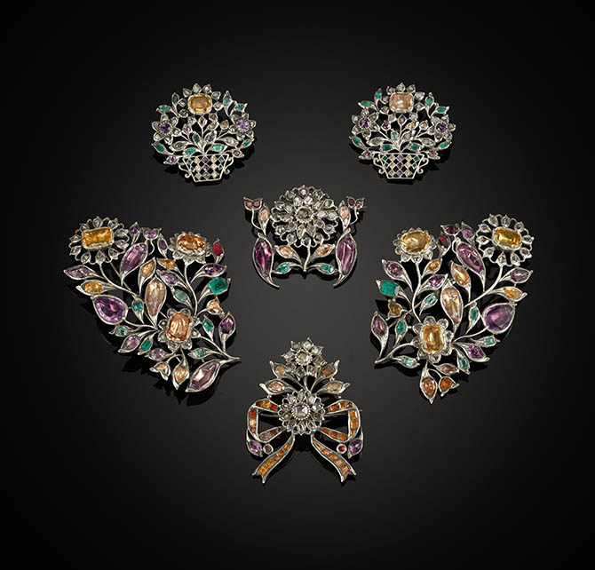 Portuguese Suite of Six Multi-Color Gemstone and Diamond Brooches. Two large and One Smaller Sprays, Two Flower Baskets and One Bow Set with Topaz, Amethyst and Diamonds. c.1760