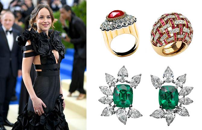 Dakota Johnson wearing a Gucci dress and Cartier jewels at the 2017 MET Gala