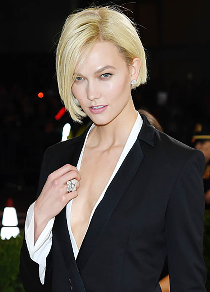 Karlie Kloss in Forevermark diamond earrings and rings at the 2017 MET Gala