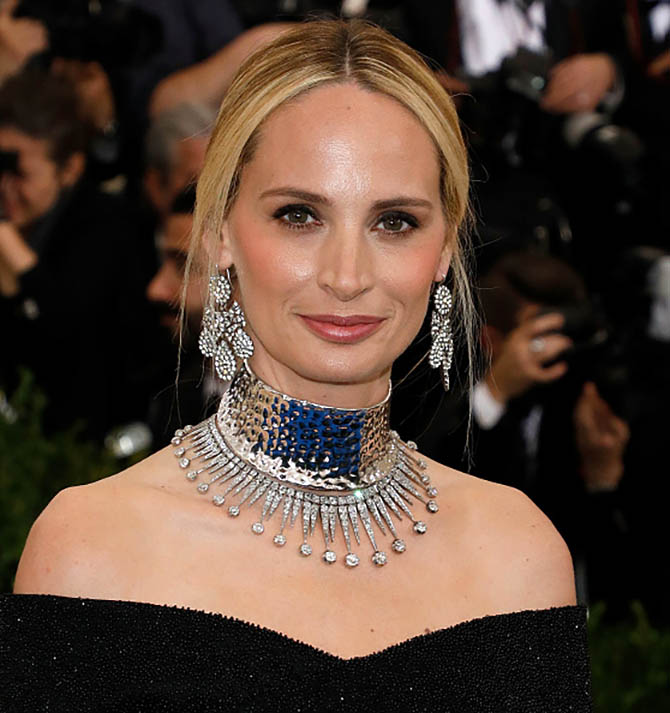 Lauren Santo Domingo in girandole earrings a wide choker and an antique necklace from Nina Runsdorf at the 2017 MET Gala Photo by Taylor Hill/FilmMagic