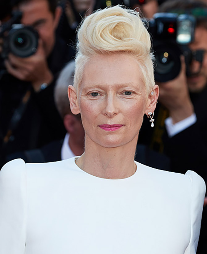 "Actress Tilda Swinton in a single diamond ear cuuf by Repossi at the ""Okja"" screening during the 70th annual Cannes Film Festival at Palais des Festivals on May 19, 2017 in Cannes, France. (Photo by Oleg Nikishin/Epsilon/Getty Images)"