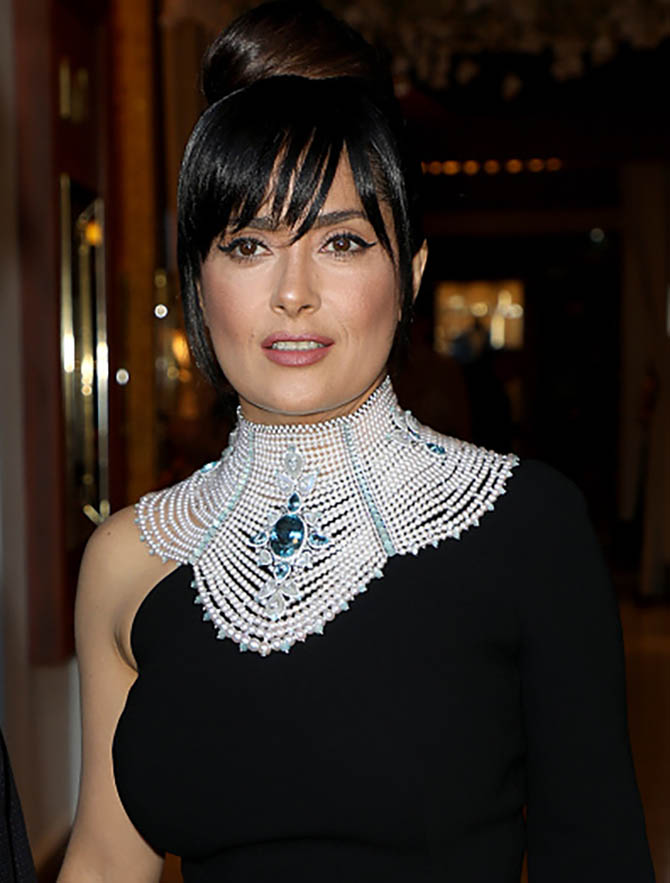 CANNES, FRANCE - MAY 20: Salma Hayek in a Boucheron necklace is spotted during the 70th annual Cannes Film Festival at on May 20, 2017 in Cannes, France. (Photo by Pierre Suu/GC Images)