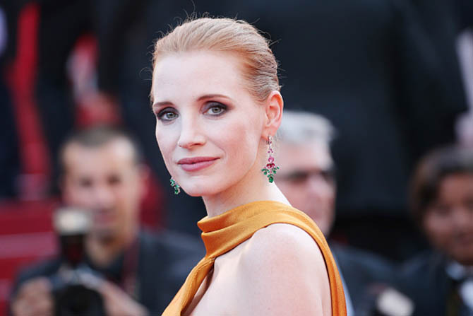 CANNES, FRANCE - MAY 23: Jessica Chastain in Piaget earrings at the 70th Anniversary of the 70th annual Cannes Film Festival at Palais des Festivals on May 23, 2017 in Cannes, France. (Photo by Gisela Schober/Getty Images)