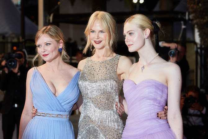 "CANNES, FRANCE - MAY 24: (L-R) Kirsten Dunst, Nicole Kidman, Elle Fanning after the ""The Beguiled"" screening during the 70th annual Cannes Film Festival at Palais des Festivals on May 24, 2017 in Cannes, France. (Photo by Kristina Nikishina/Epsilon/Getty Images)"