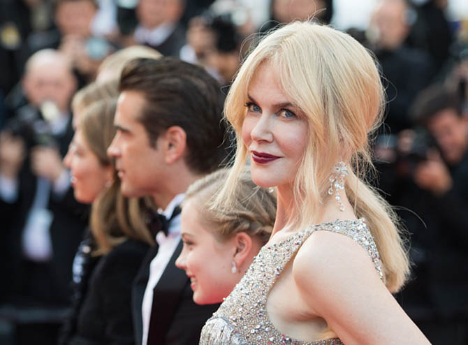 "CANNES, FRANCE - MAY 24: Nicole Kidman in earrings by Lydia Courteille at the ""The Beguiled"" screening during the 70th annual Cannes Film Festival at Palais des Festivals on May 24, 2017 in Cannes, France. (Photo by Samir Hussein/WireImage)"