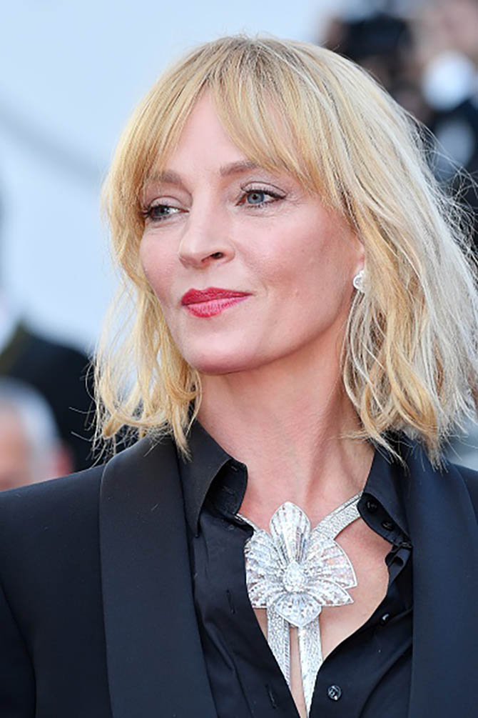 CANNES, FRANCE - MAY 27: Uma Thurman in a Boucheron necklace arrives for the film 'Based on a True Story' out of competition at the 70th annual Cannes Film Festival in Cannes, France on May 27, 2017. (Photo by Philip Rock/Anadolu Agency/Getty Images)