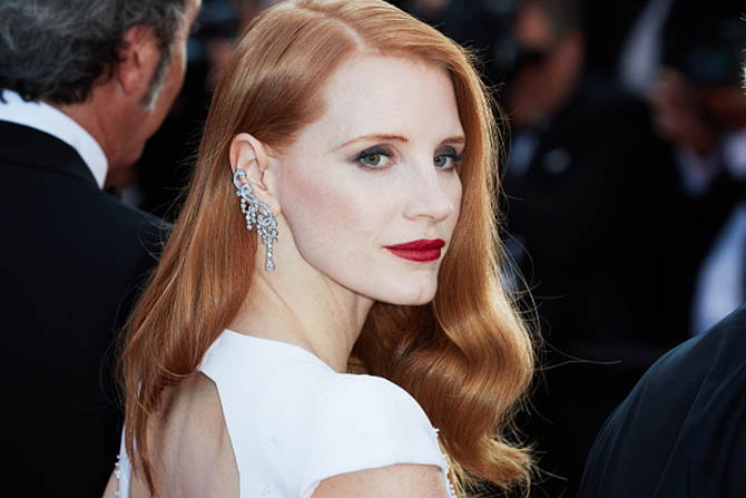 CANNES, FRANCE - MAY 28: Jessica Chastain in a Piaget diamond ear cuff attends the Closing Ceremony of the 70th annual Cannes Film Festival at Palais des Festivals on May 28, 2017 in Cannes, France. (Photo by Oleg Nikishin/Epsilon/Getty Images)