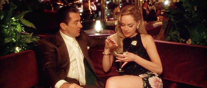 A scene in 'Casino' with Robert DeNiro with Sharon Stone who is wearing a Bulgari brooch, bracelet and ring. Photo Universal Pictures