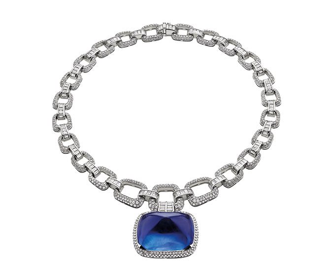 Bulgari's Il Magnifico platinum and diamond necklace centering on a 180-carat cabochon sapphire. Photo courtesy