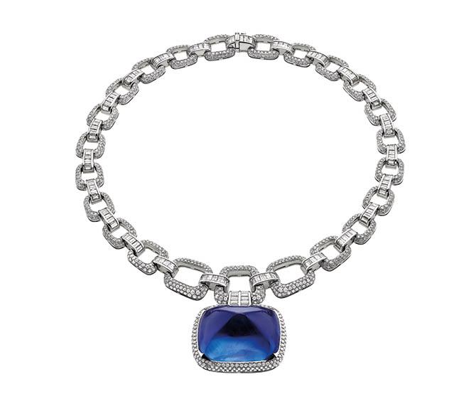 Bulgari's Il Magnifico platinum and diamond necklace centering on a 180-carat cabochon sapphire. Photo courtesy