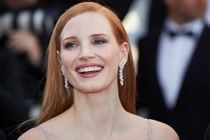 "Jessica Chastain in Piaget diamond earrings at the ""Okja"" screening during the 70th annual Cannes Film Festival at Palais des Festivals on May 19, 2017 in Cannes, France. (Photo by Oleg Nikishin/Epsilon/Getty Images)"