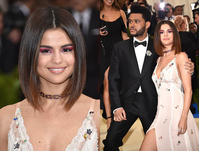 The Weekend and Selena Gomez in Tiffany at the 2017 MET Gala