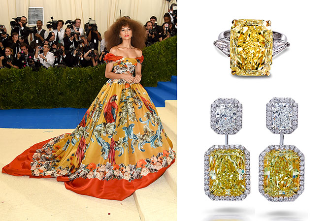 Zendaya wearing Dolce & Gabbana and Forevermark diamonds at the MET Gala