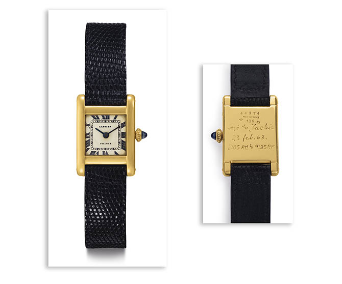 "The front and back of the Jacqueline Kennedy Onassis Cartier gold Tank watch. The timepiece is engraved ""Stas to Jackie - 23 Feb. 63 - 2:05 am to 9:35 pm."""