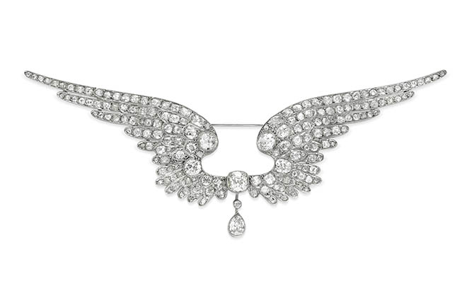 Belle Epoque diamond and platinum wing brooch, circa 1910 from Simon Teakle
