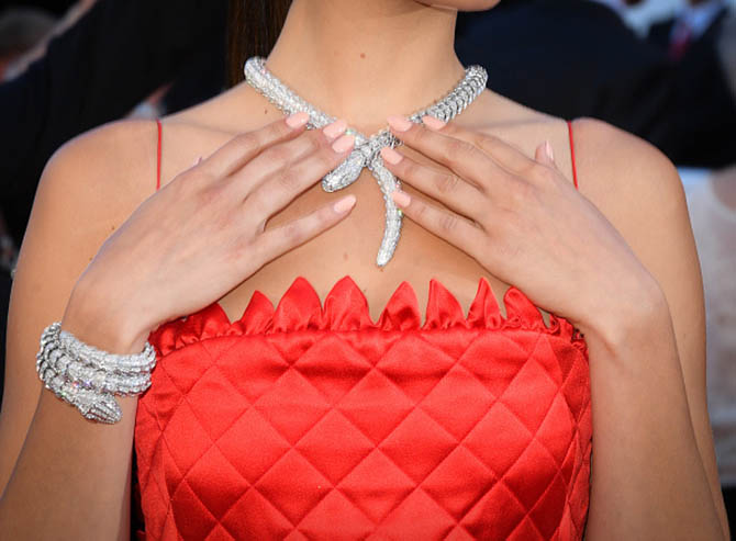 Bella Hadid in Bulgari Serpenti diamond jewels at the 2017 Cannes Film Festival