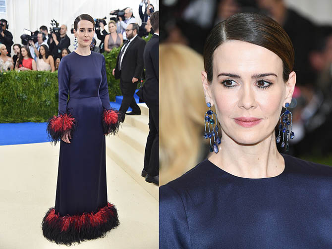 Sarah Paulson in Prada and Irene Neuwirth at the MET Gala
