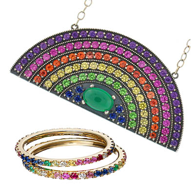Rainbow pendant by Andrea Fohrman and Rainbow Eternity Bands by Soraya Silchenstedt Photo courtesy of the designers