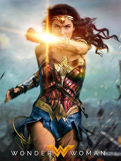 A movie poster for 'Wonder Woman' directed by Patty Jenkins showing Gal Gadot deflecting bullets with her bracelets on the battlefield. Photo Warner Brothers