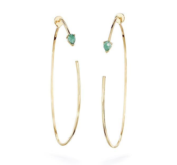 Paige Novick Large Open Oval Two Part Hoop Earrings with Rose Cut Stone Detail, Sold singlely, $1,670