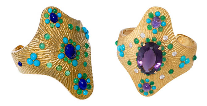 These Boucheron textured gold cuffs set with semiprecious stones were made in the 1970s. The pieces are from the Mahnaz Collection. Photo courtesy