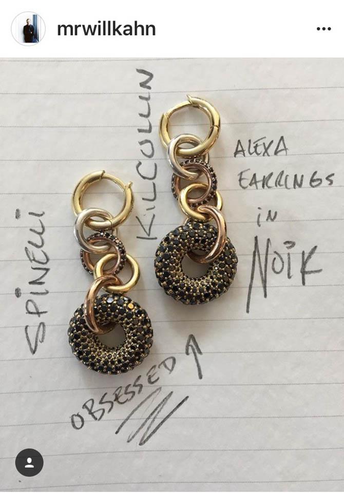 One of #WillsNotebook posts featuring earrings by Spinelli Kilcollin Photo @MrWillKahn/Instagram