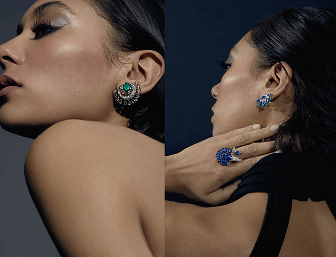 A model posing in jewels from the Sutra collection. Photo courtesy of Moda Operandi