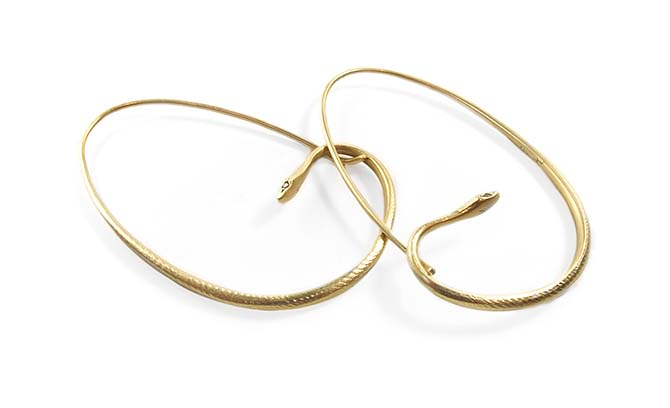 Gabriella Kiss 18K Gold Small Snake Hoops, $1,800