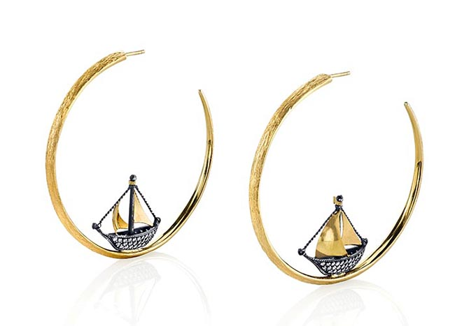 Arman Sarkisyan 22K Gold, Silver and Diamond Sailboat Hoops, $12,540