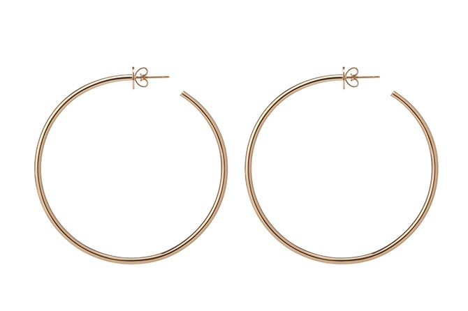 "Jennifer Fisher 2"" Solid Gold Hoops, $1,500"