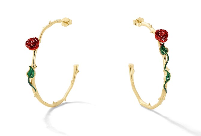 Alison Lou Enamel and Gold Rose Hoops, $1,155