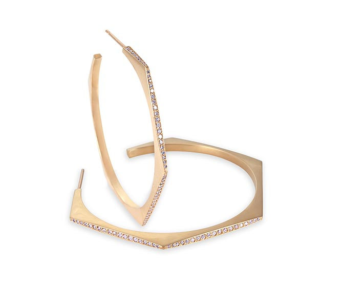 JJennifer Meyer 18k Yellow Gold Diamond Large Hex Hoops, $14,750