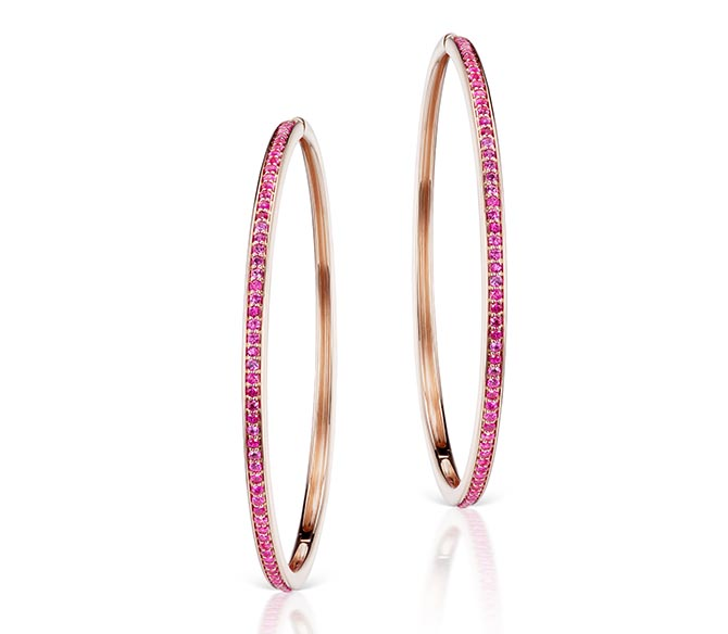 Jane Taylor Cirque Large 14K Pink Hoops with Hot Pink Sapphires, $6,690