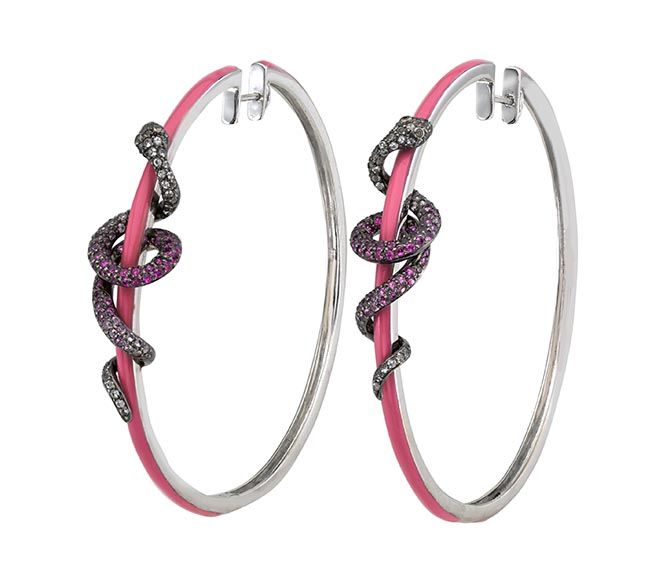 Wendy Yue 18K White Gold and Pink Enamel Snake Hoops with Champagne Diamonds, White Sapphires and Pink sapphires, $7,150