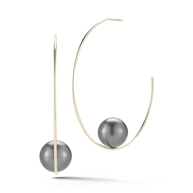 Mizuki Floating Pearl and Gold Hoops, $1,690
