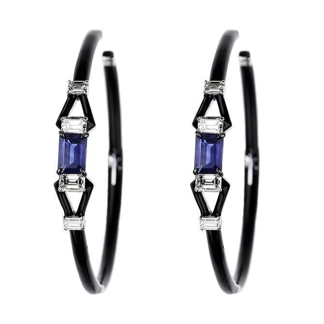 Nikos Koulis Sapphire, Diamond and Enamel White Gold Hoops