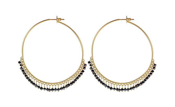 Me & Ro 18K Gold Endless Hoops with Black Diamonds, $3,800