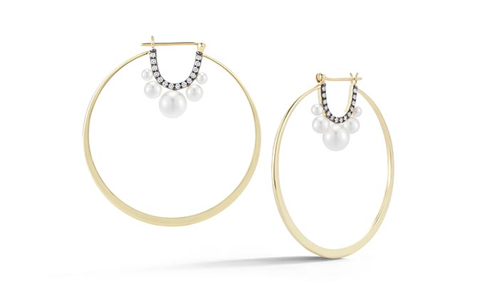 Jemma Wynne 18K Gold Hoops with Pearls and Diamonds in an Oxidized Setting, $5,485